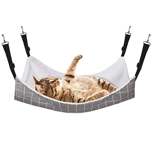 RayCC Ajustable Cat Hammock Cat Bed Sleeping Hammock Hanging Cage Chair Hammock for Cat Small Dogs (Grey,L)
