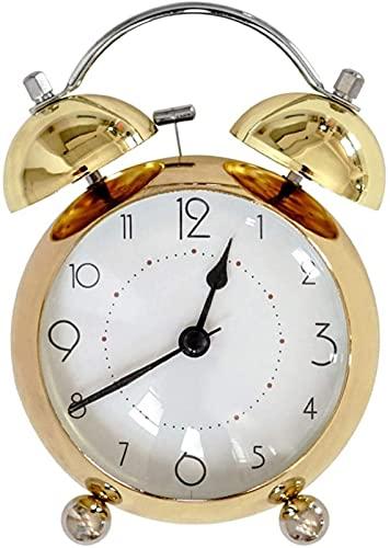 dh-13 Reloj Despertador de Campana Gemela, Luces nocturnas, Metal, Retro, silencioso, repetición silenciosa con Esfera estereoscópica, mesita de Noche, Dormitorio, Oficina, Oro