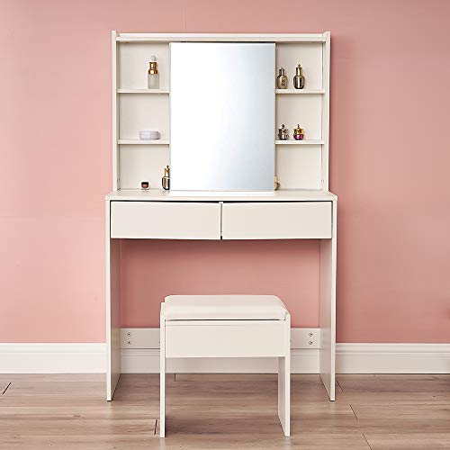 White Wooden Dressing Table Set with Slide Mirror, Stool and Large Storage Drawer Modern Vanity Makeup Writing Desk for Girls Women Bedroom Furniture