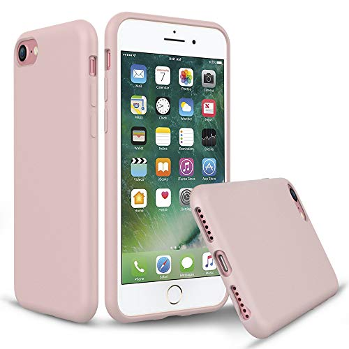 PENJOY Silicone Case for Apple iPhone 6 / 6s / 7/8, Full Body Protection Silicon Cases Support Wireless Charging Slim Rubber Cover (Pink Sand)