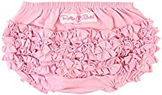 RuffleButts Baby/Toddler Girls Baby Pink Knit Ruffle Nappy Cover - 3-6m