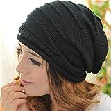 Garispace Gorro de invierno a prueba de viento con cráneo de punto de lana para jersey de sombrero cálido negro suave y cómodo