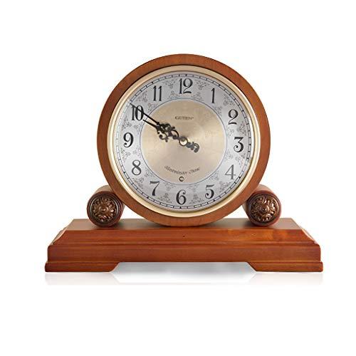 zxb-shop Reloj de Mesa Boxwood Solid Wood Table Reloj emitir