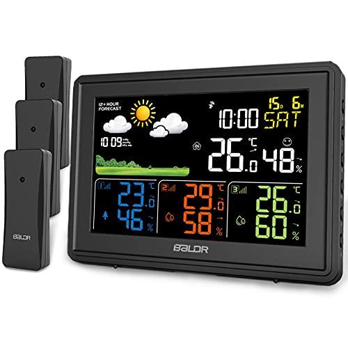 BALDR Wetterstation Funk mit 3 Außensensor Innen Außen Digital Thermometer Hygrometer Feuchtigkeit mit Wettervorhersage, DCF Farbbildschirm Wetterstation, Wecker, Uhrzeitanzeige (Schwarz)