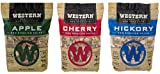 Western Popular BBQ Smoking Wood Chip Variety Pack Bundle (3) - Popular Flavors - Apple & Hickory, with Cherry