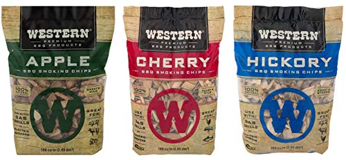 Western Popular BBQ Smoking Wood Chip Variety Pack Bundle (3) – Popular Flavors – Apple & Hickory, with Cherry