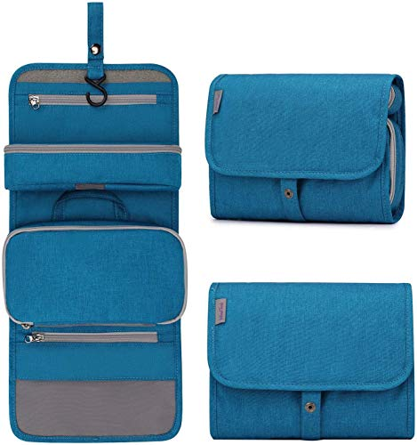 Travel Toiletry Bag,Large Capacity Wash Bag for women and men,Waterproof Hanging Makeup Organiser Bag with 4 Compartments & 1 Sturdy Hook,Perfect for Business Trip,Gym,Vacation and Household (Blue)