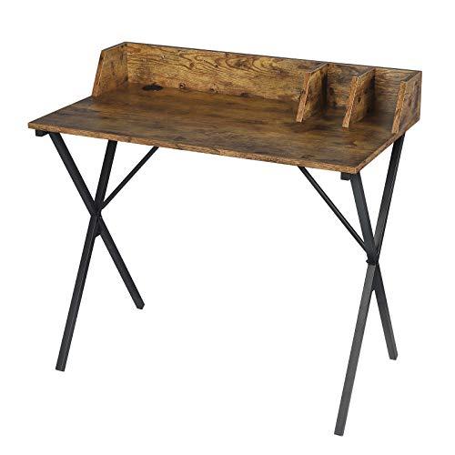 EUGAD 0103ZZ Schreibtisch Computertisch Bürotisch PC Tisch Arbeitstisch für Home, Büro, Metall MDF 90x50x73CM Holzoptik Vintage