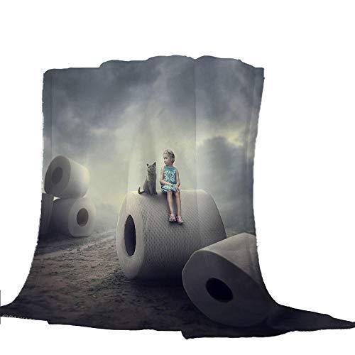 Manta de Lujo Bola de Papel Gris Manta de Lana con Franela Ligera Adecuada para Cama, Sofá, Viaje 130x150cm