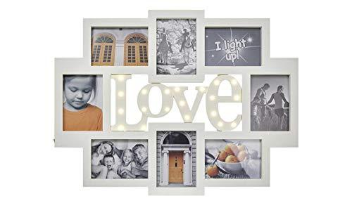 KHG Bilderrahmen Collage Weiß 13x18 8er-LED-Bilderrahmen LED-Love-Schriftzug Bright Love