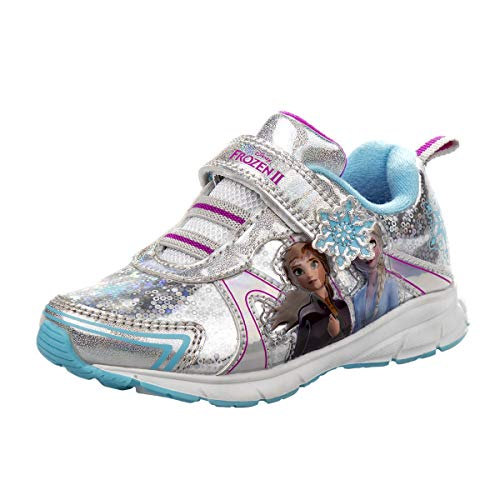 Disney Frozen 2 Girls Fashion Sneakers - Anna and Elsa, Silver, Size 7 Toddler