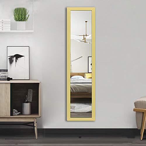 AUFHELLEN Wandspiegel 120x30cm Großer Spiegel mit Golden Rahmen HD Ganzkörperspiegel mit Haken und Rückwand für Tür, Wohn-, Schlaf- und Ankleidezimmer (Golden)