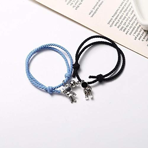Pulsera de imán para parejas, 1 par de astronautas trenzadas Pareja de cuerda Pulsera de cuerda, Relación de atracción mutua Parejas Juego de joyería, para parejas y regalos -black + blue
