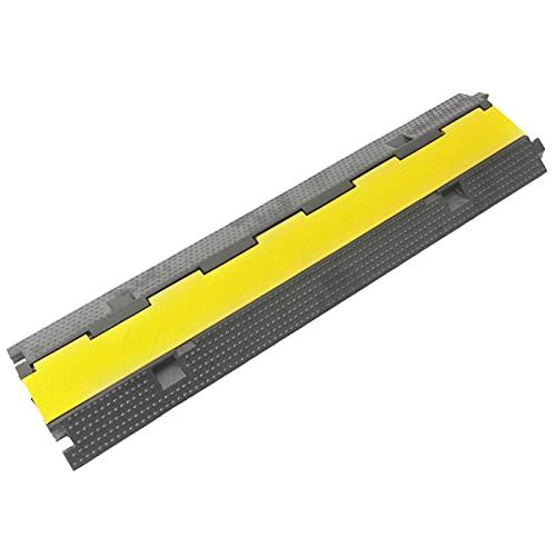 PrimeMatik - Protection au Sol pour câbles en Caoutchouc 2 Voies 98 cm
