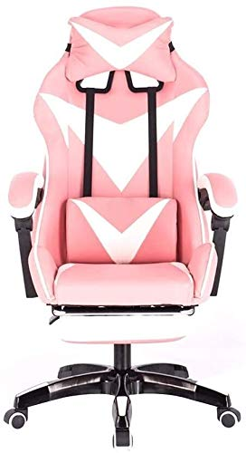 poltrone GSN Juegos Silla, sillón reclinable con reposapiés ergonómico Diseño Elevación Rotary Silla de la computadora del hogar con Apoyo for la Cabeza y Masaje Almohada Lumbar (Color : Pink White)