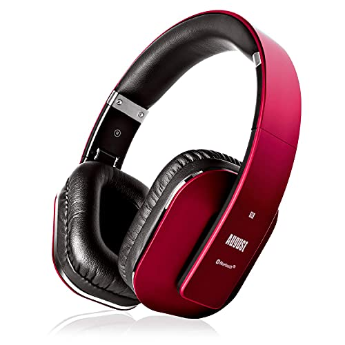 August EP650–Auriculares Bluetooth Inalámbrico–Auriculares Diadema Casco Plegable-Sonido Estéreo Bass Rich-Auriculares Orejeras Cómodas con NFC y aptX,Color Rojo