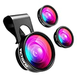 VicTsing Phone Camera Lens,180° Fisheye Lens+0.65X Wide Angle Lens & 10X Macro Lens (Screwed Together), Clip on Cell Phone Lens Kits Compatible with iPhone 8/7/6s, Most Android and Smart Phone