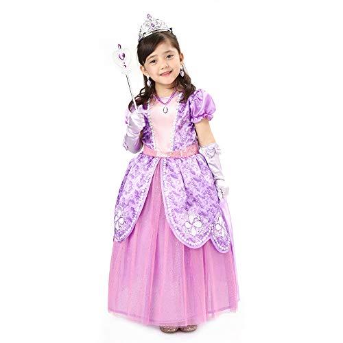 Sincere Party Costume da principessa Sophia per bambina, vestito da principessa Sofia con accessori 7-8 anni