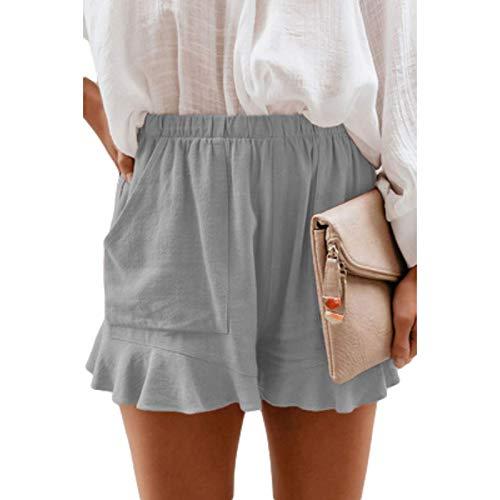 Pantaloncini Casual in Cotone a Vita Alta Estiva da Donna Pantaloni Corti Dritti Larghi pieghettati in Vita Elastica in Tinta Unita 3X-Large