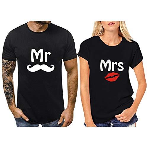 Binggong Partner-T-Shirt Pärchen Shirts Damen Herren 2 Stück Couple-Shirt, Mr und Mrs Brief Geschenk Set für Verliebte,Beiläufige Rundhals Kurzarmshirt Tanktops
