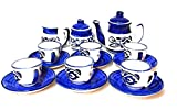 swadeshi ceramics Hand Painted Miniature Toy Tea Cup Set with Saucers for Children(Multicolour)