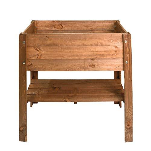 Spetebo - Fioriera rialzata in legno di pino, 80,5 x 40 cm, con ripiano