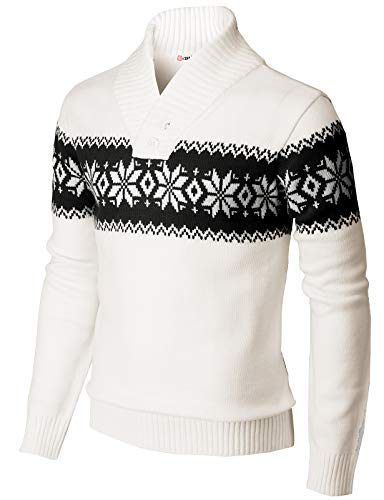 H2H Mens Casual Slim Fit Shawl Collar Pullover Snowflake Patterned Sweater White US L/Asia XL (KMOSWL0102)