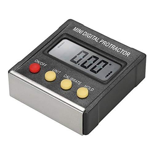 QiKun-Home Mini Pantalla Digital electrónica Inclinómetro Medidor de Nivel de Grado Transportador Regla de ángulo magnético Caja de inclinación Negro