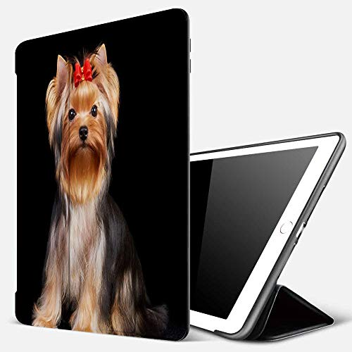 iPad 9.7 inch 2017/2018 Case/iPad Air/Air 2 Cover,Yorkshire Terrier Isolated on The Black Background,PU Leather Shockproof Shell Stand Smart Cover with Auto Wake