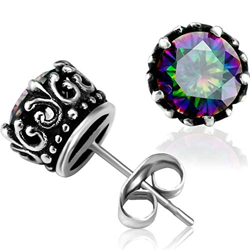 Retro Vintage Celtic Knot Stainless Steel Fire Crystal Stud Earrings (Fire)