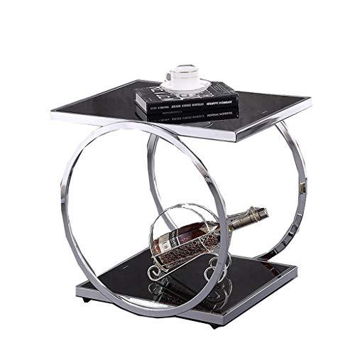 LSX-salontafel Kleine koffietafel, Hoekbank Zijtafel Vierkante Tafel Moderne Eenvoudige Gehard Glas Telefoon Stand bijzettafel