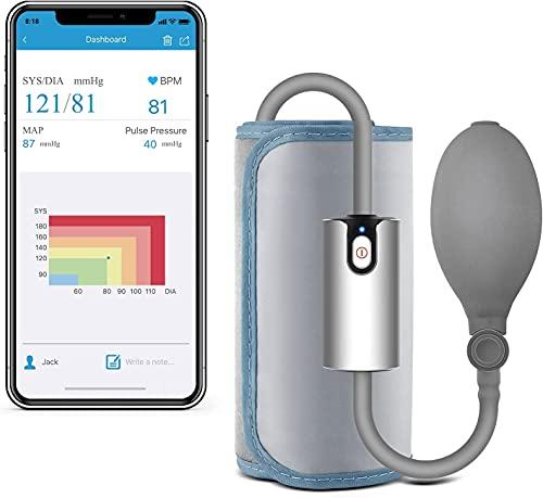 Trendmedic AirBP ultraportables Bluetooth Oberarm-Blutdruckmessgerät | Android & iOS App mit deutsche Sprachausgabe | unterstützt Apple Health