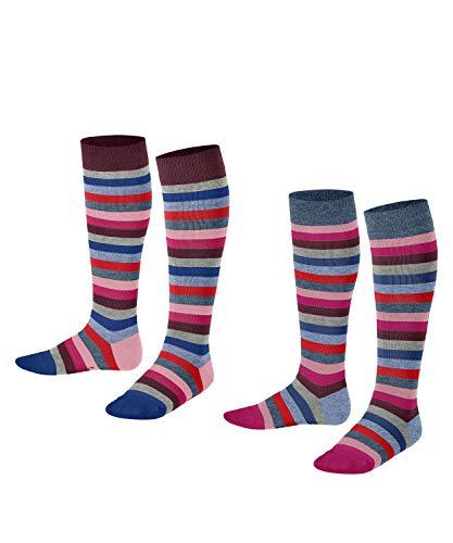 ESPRIT Unisex Kinder Multi Stripe 2-Pack K KH Socken, Blau (Light Denim 6660), 35-38 (2er Pack)