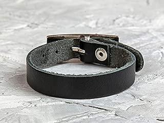 Leather Life 910, Leather Wrap Bracelet, Black Bangle Cuff, Black Bracelet Men, Wristband Women Jewelry, Birthday Gift, Minimalist Unisex Bracelet Boho 8101bl