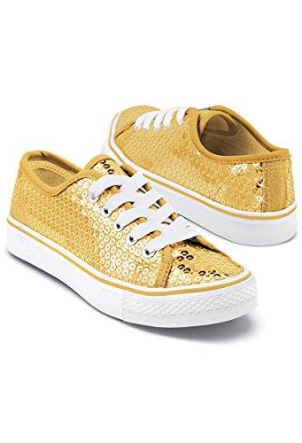 Balera Sequin Low Top Dance Sneakers Gold 12AM