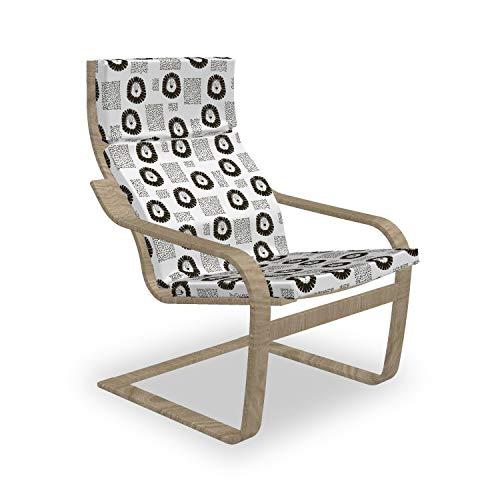 ABAKUHAUS Schwarz und weiß Poäng Sessel Polster, Hand gezeichneter Löwe, Sitzkissen mit Stuhlkissen mit Hakenschlaufe und Reißverschluss, Schwarz und weiß