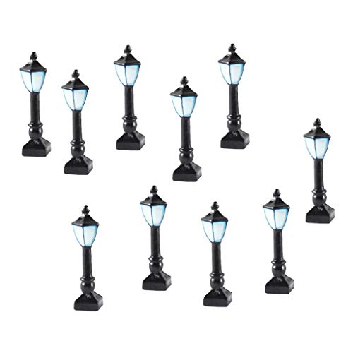 sharprepublic Juego de 10 Lámparas de Calle en Miniatura Accesorios de Lámpara de Calle para Maquetas Ferroviarias Modelo - Estilo 3 Negro