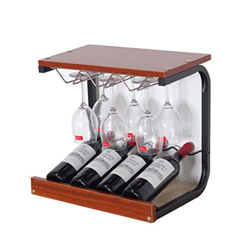 Weinregal, Creative Holztisch Tischdekoration Wein, Upside Down Cup Lagerung für Home Kitchen Bar Weinschrank Lagerregal, 43.5 * 31 * 40cm, 4 Flaschen Wein, 6 Tassen, drei Farben ( Farbe : Teak )