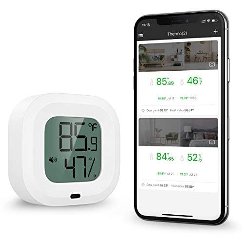 ORIA Bluetooth Hygrometer Thermometer, Innen Mini Thermometer Hygrometer mit HD-Bildschirm, Magnetische Anziehung und Alarmfunktion, kompatibel mit IOS/Android, für Wein, Zigarre, Haus etc - Weiß