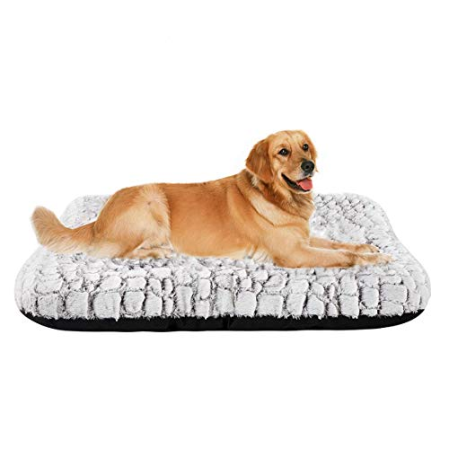 Coohom Deluxe Plush Dog Bed Pet Cushion Crate Mat,Washable Pet Bed for Medium Large Dogs and Dogs Crates(X-Large,White)