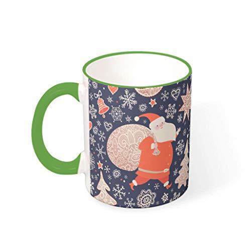 Lind88 Kerst Bloem Water Thee Mok met Handvat Keramische Retro Stijl Mok - Meisje Vrouwen, Pak voor Dorm gebruik (11 OZ)