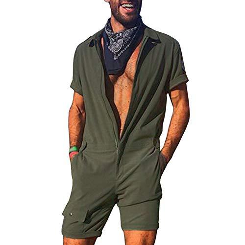 Pagliaccetto Moda Uomo Manica Corta Tuta con Cerniera Tuta Intera Pantaloni Casual con Tasche Taglie Forti