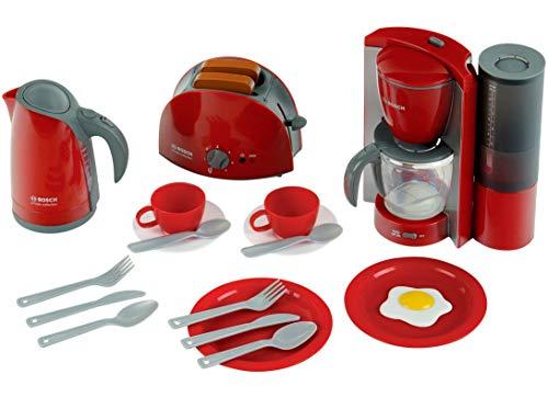 Theo Klein 9564 Bosch Frühstücksset I Küchen-Set bestehend aus Toaster, Kaffemaschine, Wasserrkocher und vielem mehr I Verpackungsmaße: 44,5 cm x 13 cm x 34 cm I Spielzeug für Kinder ab 3 Jahren