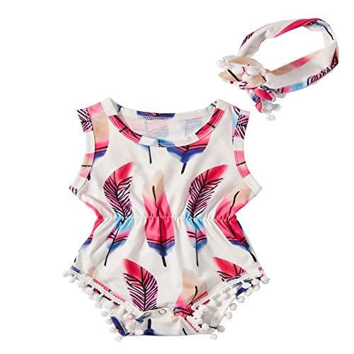 chicolife Trajes Dulce pompón Mameluco para bebé recién Nacido niña 18-24 Meses Palysuits Infantil Traje con Bandas Blancas
