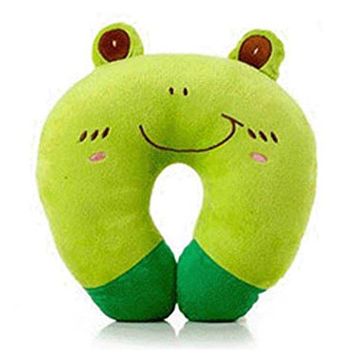 Cuscino da viaggio, a forma di U e peluche di animale, poggiatesta per auto, adatto per adulti e bambini, colore Verde