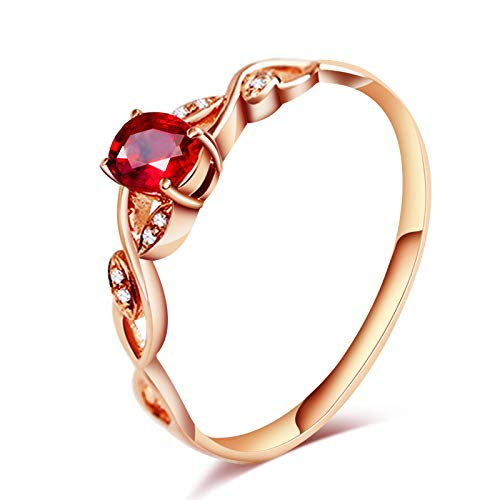 ANAZOZ Echtschmuck Ring Damen 18 Karat / 750 Rosegold Oval Und Twist 0.3Ct Rubin Rot Solitär Verlobungsring Hochzeitsring Brilliant Diamantring Geschenke für Frauen Größe:58 (18.5)
