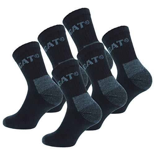 Caterpillar 6 Pairs Quarter CAT Socken mit luftiger Webfläche Verstärkt an Ferse und Zehe Hochwertiger Garn-Baumwollschwamm (Schwarz, 41-45)