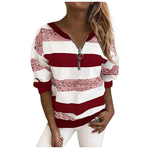 Tops para mujer Quarter Zipper Niñas Sudadera Manga Larga Camiseta Cuello Redondo Rayas Jersey Señoras