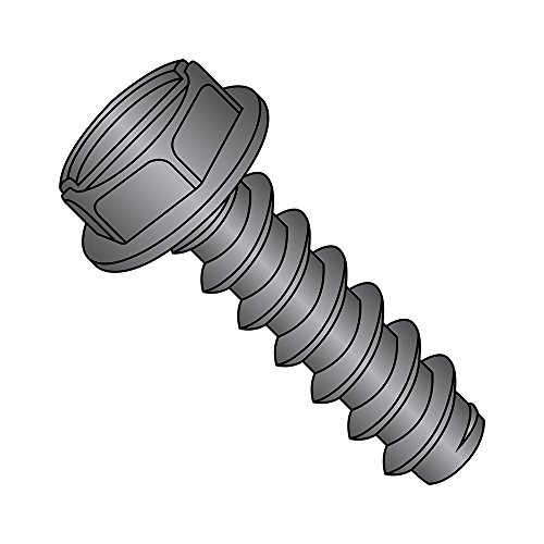 Steel Sheet Metal Screw, Black Oxide Finish, Hex Washer Head, Slotted Drive, Type B, #4-24 Thread Size, 1/4
