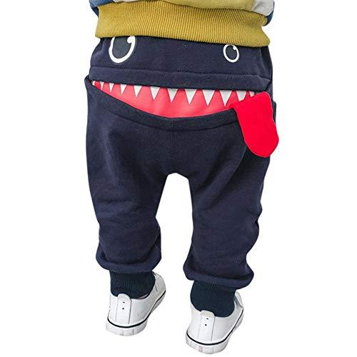 SUCES Kinder Hosen Unisex Süß Jogginghose Jungen Baumwolle Dick Elastische Leggings Mädchen Warm Gefütterte Sporthose(Marine,110)